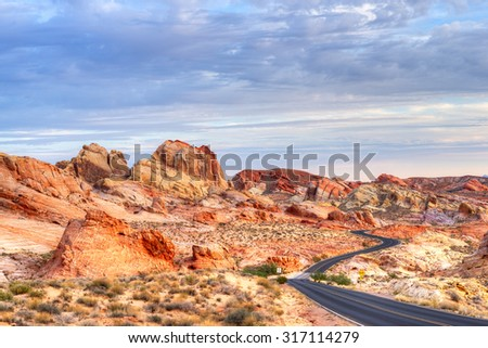 Winding road in scenic Valley of Fire State Park, Nevada - stock photo
