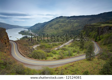 Winding Road in the Columbia River Gorge - stock photo