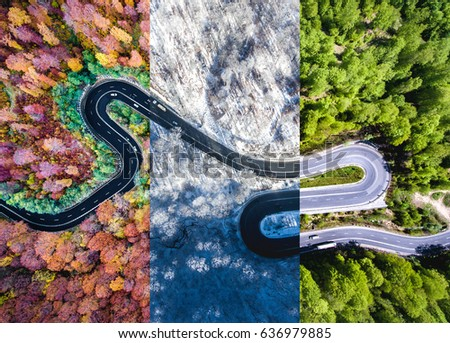 Winding road in the forest. Autumn, summer and winter time collage. Top down aerial view from a drone.