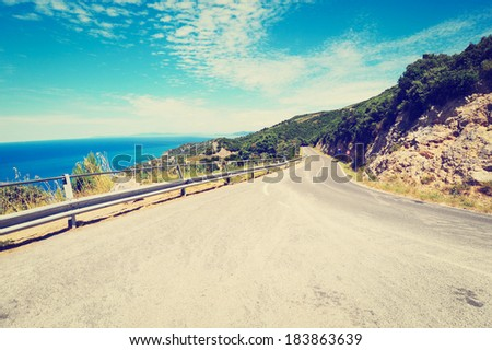 Winding Road in the Mountains along the Coast, Instagram Effect - stock photo