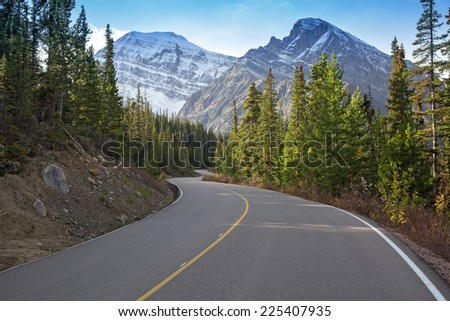 Winding road in the mountains near Jasper, Canada
