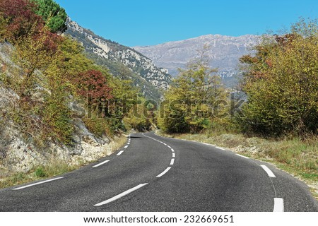Winding road in the mountains of the Alpes-Maritimes in France
