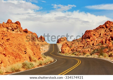 Winding road in Valley of the Fire national park in Nevada, USA - stock photo