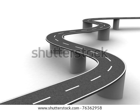 Winding road on supports - stock photo