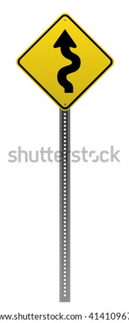 Winding road sign on white background.Vector scalable detailed image. - stock photo