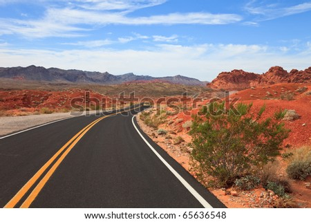 Winding road through the Valley of Fire State Park, Nevada. - stock photo