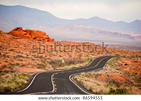 Winding road through Valley Of Fire, nevada - stock photo