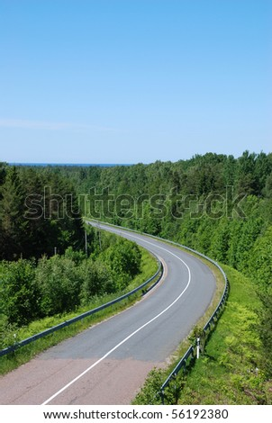 Winding tarmac road in forest - stock photo