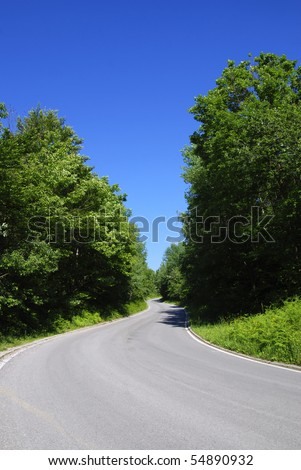 winding tarmac road in forest region, bright blue sky - stock photo