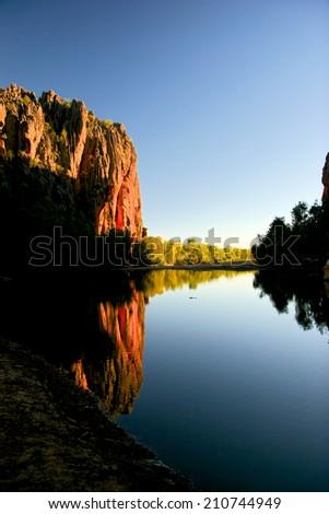 windjana gorge in Western Australia along the gibb river road - stock photo