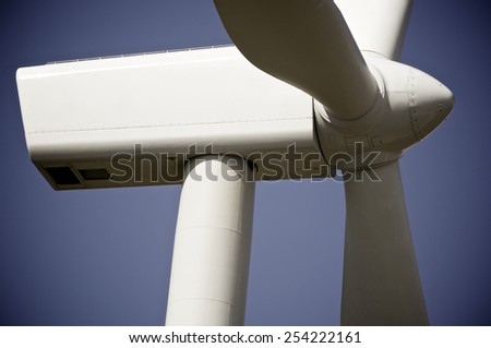 windmil for renewable energy production, Zaragoza Province, Aragon, Spain - stock photo