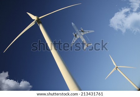 windmill and passenger plane in 3d
