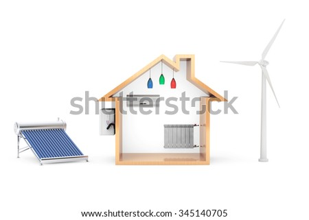 Windmill and Solar Water Heater produce green energy for house on a white background