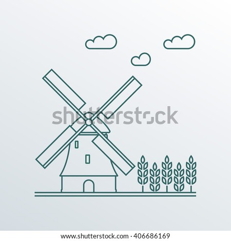 Windmill and wheat ears. Mill line symbol. Netherlands landscape. Colorful outline illustration in flat style. - stock photo