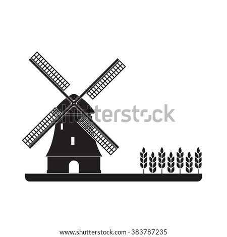Windmill and wheat ears. Mill symbol. Agriculture landscape. - stock photo