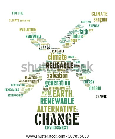 Windmill as renewable energy: text graphics with white background - stock photo