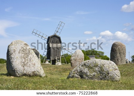 windmill at gettlinge in sweden - stock photo