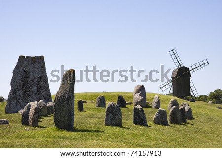 windmill at Gettlinge in sweden on Oland - stock photo