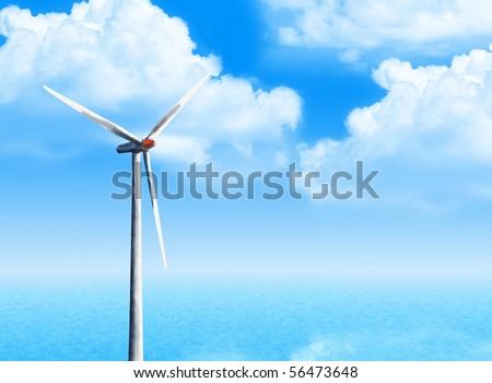 windmill at ocean scenery - stock photo