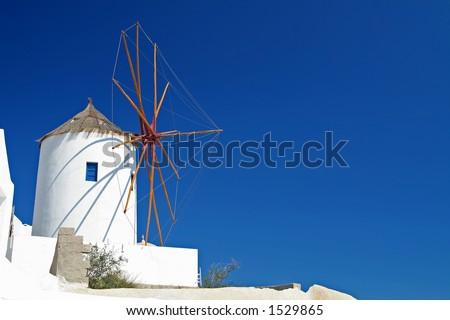 Windmill at Santorini Island, Greece - stock photo