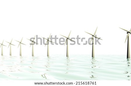 windmill at sea - stock photo