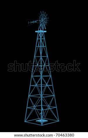 Windmill (3D xray blue transparent) - stock photo
