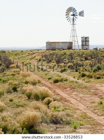 windmill down a desert road