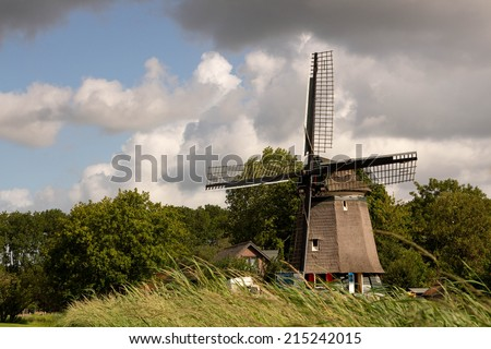 windmill edam country famous for its cheese market amsterdam holland - stock photo