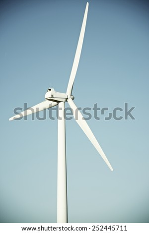 Windmill for electric power production, La Muela, Zaragoza Province, Aragon, Spain. - stock photo