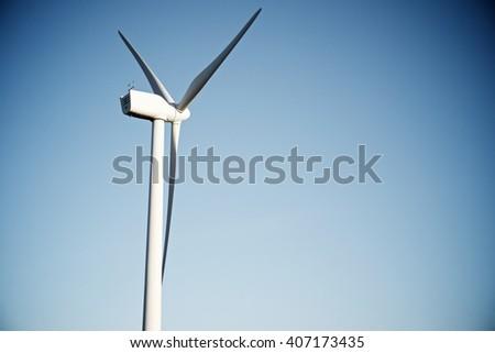 Windmill for electric power production, Zaragoza Province, Aragon, Spain. - stock photo