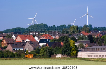 Windmill generators in Germany - stock photo