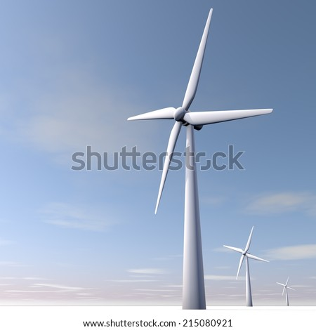 Windmill in a blue sky.  - stock photo