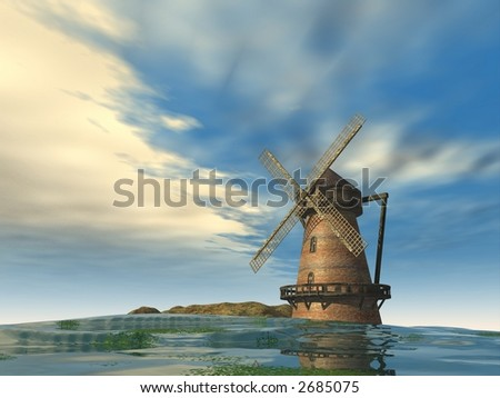 windmill in a cloudy day on a river - 3d render illustration - stock photo