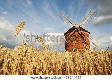 Windmill in Chvalkovice (Czech Republic) - stock photo