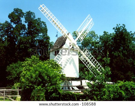 Windmill in Colonial Williamsburg - stock photo