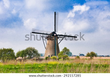 Windmill in Holland - stock photo