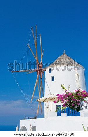 Windmill in Santorini, Greece - stock photo