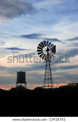 windmill in the evening sky