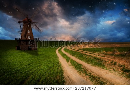 Windmill in the night.