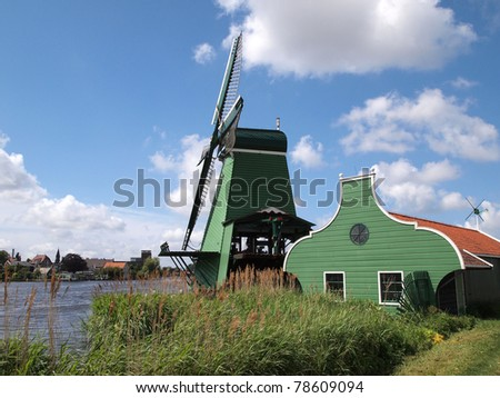Windmill in Zaanse Schans, Netherlands - stock photo