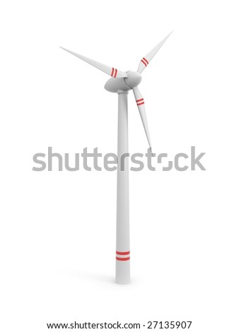 Windmill isolated on white - stock photo