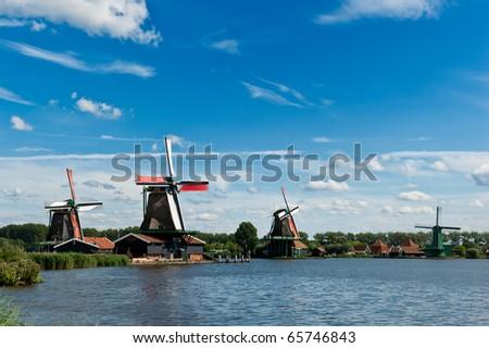 Windmill landscape in the Zaanse Schans, the netherlands - stock photo