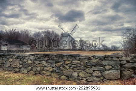 Windmill Located on Jamestown, Rhode Island - stock photo
