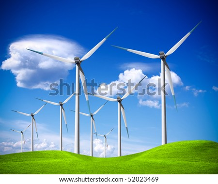 Windmill on blue sky - stock photo
