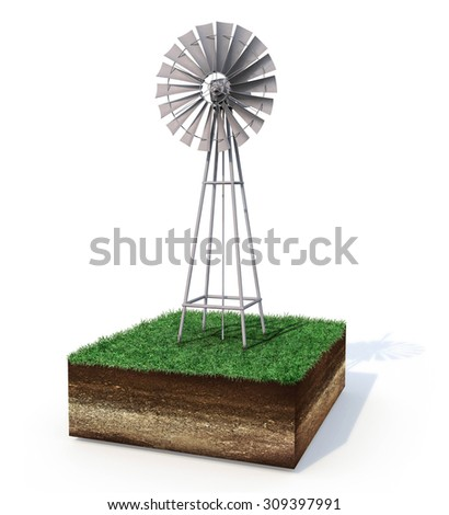 Windmill on land cutout showing dirt layers