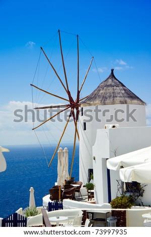 Windmill on Santorini island, Greece - stock photo