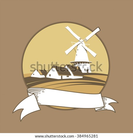 Windmill on the background of natural landscape label - stock photo