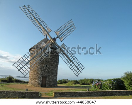 Windmill on the coast of France, Brittany