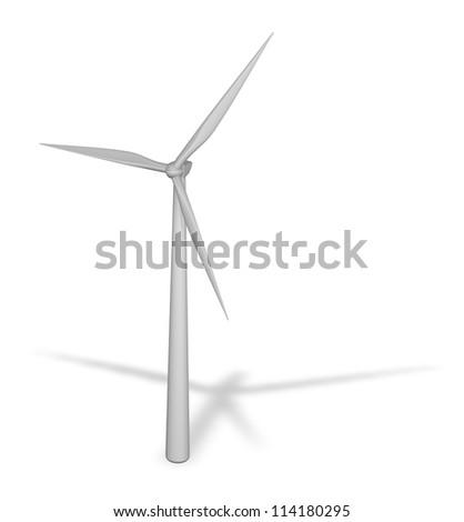 windmill on white background - 3d illustration - stock photo
