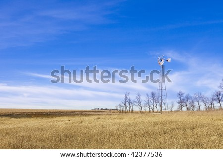 windmill over grass and corn field with saturated color and room for copy - stock photo